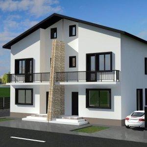 Duplex modern cu utilitati,asfalt si acces la transport public